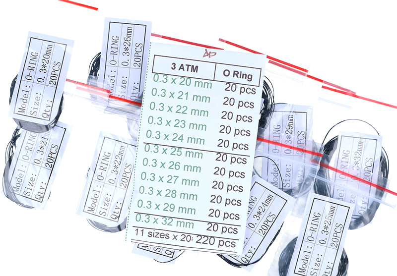 Uszczelki do dekli zegarków gr.0,3mm rozmiar 20-32 mm komplet-220szt