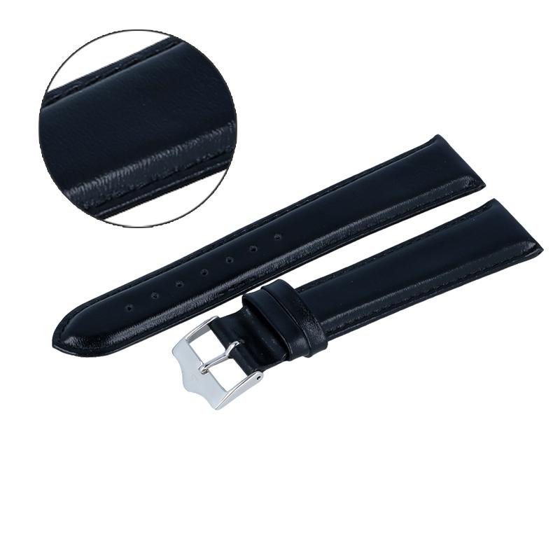 Pasek do zegarka Atlantic czarny 20mm S klamra srebrna